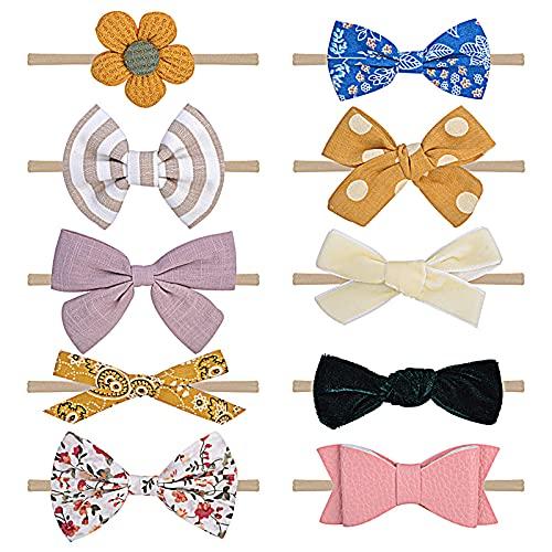 MHwan Vendas del bebé Hairband, Turbantes Bebe, Diademas para el pelo de bebé para recién nacidos, niños pequeños, multicolor, 10 piezas