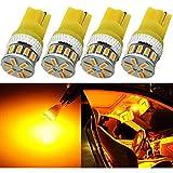 4-Pack T10 194 168 2825 Ambre/Jaune Non-Polarité LED Lumière 12V-24V - 18SMD 3014 Remplacement De Voiture Pour Plaque D'immatriculation Map Dome et Feu de Position Latéral