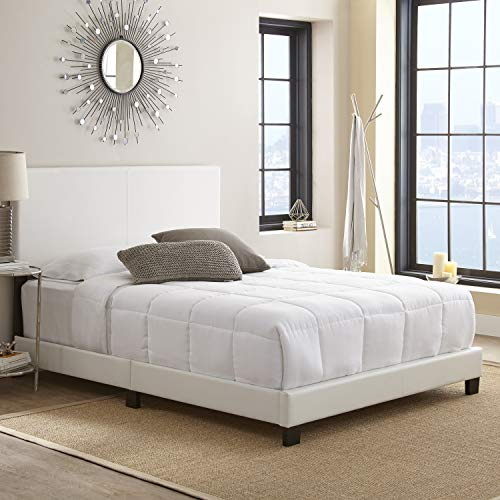 Boyd Sleep Montana Upholstered Platform Bed Frame Mattress Foundation with Headboard and Strong Wood Slat Supports: Faux Leather, White, Queen