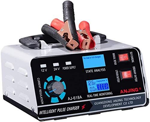 Cargador de batería de coche de 400 W, cargador de batería de 12 V 24 V y mantenimiento, cargador automático inteligente de batería de 5 niveles de carga con pantalla LCD y carga rápida adecuada