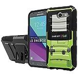 [NakedShield] [Black/Black] Total Defense Armor Case [Kickstand] [Holster] - [Game Boy Color] Compatible for Samsung Galaxy [2017] [J3 Emerge] [5' Screen]