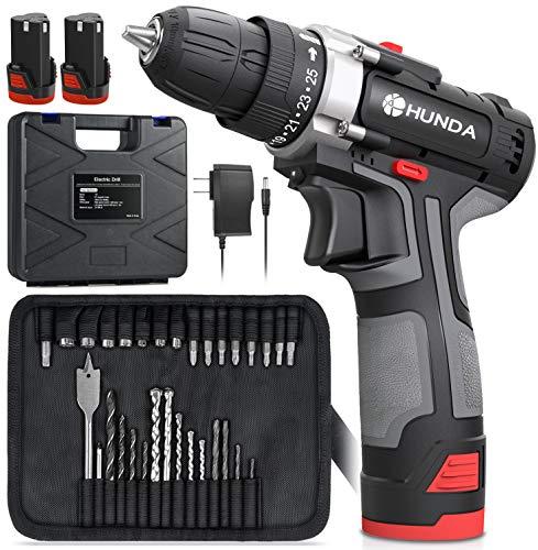 Cordless Drill Set, 12.8V Portable Drill...