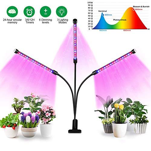 Grow Light 3 Lámparas De Plantas LED Espectro Completo Regulable Con Temporizador Interruptor Inteligente USB De Cuello De Cisne Ajustable De 360 ° Para Suculentas De Interior Vegetal Hidropónico