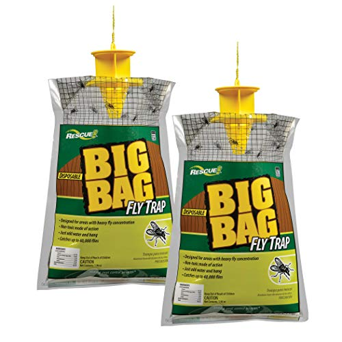 RESCUE Outdoor NonToxic Disposable Big Bag Fly Trap 2 Pack