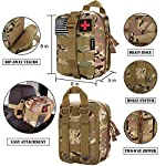 EVERLIT 250 Pieces Survival First Aid Kit IFAK Molle System Compatible Outdoor Gear Emergency Kits Trauma Bag for… 12 ✅【Exclusive 250 PCS First Aid Survival Kit Contained a Military Molle EMT Pouch】Uniquely customized by U.S military veterans, field tested by EX- Army Sergent, designed to get you well-prepared in an emergency situation. The kit combines 241 PCS First Aid Supply with 9 powerful Survival Gear into a Must-Have EDC emergency kit. ✅【Comprehensive First Aid Treatment Exceeds OSHA Guidelines For Single Family】The kit contains more than enough supply to treat a single family or a group of friends under emergency circumstances. Perfect for taking care of any medical or emergency needs during outdoor wilderness adventures such as camping, boy scouts, hiking, hunting and mountain biking, etc. ✅【Molle Compatible, Durable, Portable, and Water-Resistant】The military grade EMT bag was made from 1000D water-resistant nylon, it offers three large compartments and plenty of rooms to add your own gear. The overall dimension of the kit is 8'' x 6.5'' x 5'' and weight only 1.9 lbs. The molle compatible straps on the back allow the user to attach it to other bags or your belt, which made it a perfect companion for any outdoor activities.