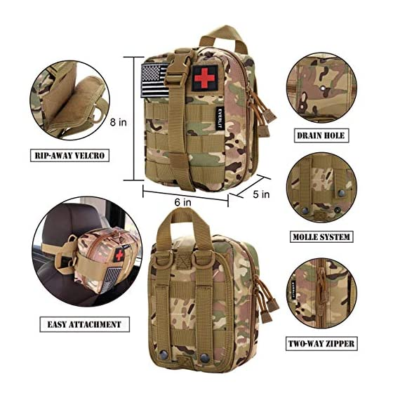 EVERLIT 250 Pieces Survival First Aid Kit IFAK Molle System Compatible Outdoor Gear Emergency Kits Trauma Bag for… 4 ✅【Exclusive 250 PCS First Aid Survival Kit Contained a Military Molle EMT Pouch】Uniquely customized by U.S military veterans, field tested by EX- Army Sergent, designed to get you well-prepared in an emergency situation. The kit combines 241 PCS First Aid Supply with 9 powerful Survival Gear into a Must-Have EDC emergency kit. ✅【Comprehensive First Aid Treatment Exceeds OSHA Guidelines For Single Family】The kit contains more than enough supply to treat a single family or a group of friends under emergency circumstances. Perfect for taking care of any medical or emergency needs during outdoor wilderness adventures such as camping, boy scouts, hiking, hunting and mountain biking, etc. ✅【Molle Compatible, Durable, Portable, and Water-Resistant】The military grade EMT bag was made from 1000D water-resistant nylon, it offers three large compartments and plenty of rooms to add your own gear. The overall dimension of the kit is 8'' x 6.5'' x 5'' and weight only 1.9 lbs. The molle compatible straps on the back allow the user to attach it to other bags or your belt, which made it a perfect companion for any outdoor activities.