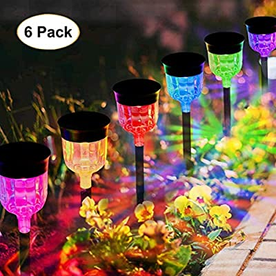 Solar Landscap Path Lights Outdoor, Waterproof Solar Powered Lawn Lights Garden Light Color Changing Solar Landscape Path LightsAuto On/Off for Lawn Patio Yard Walkway Sidewalk Driveway (6 Pack)