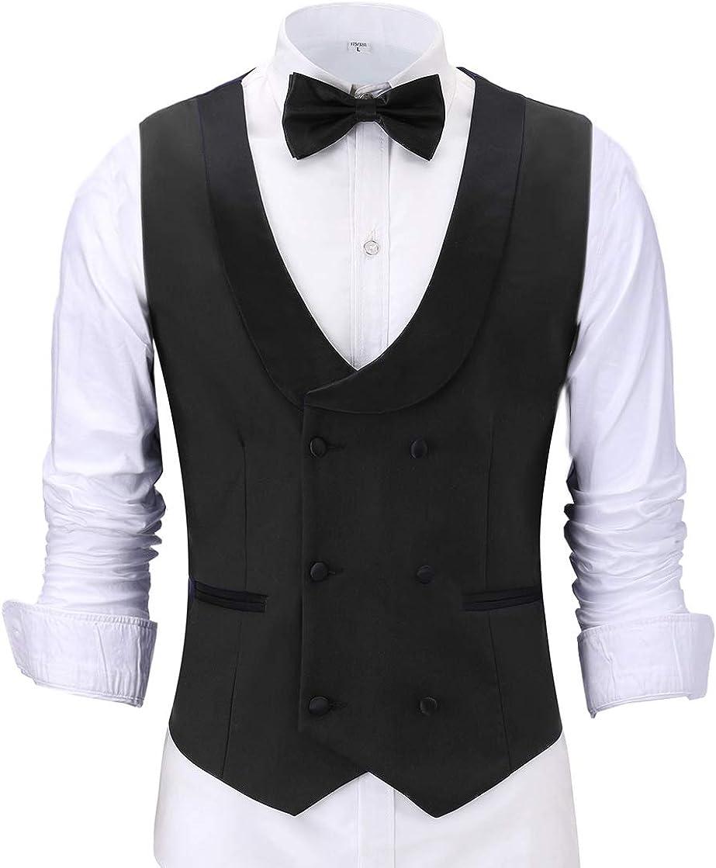 BYLUNTA Men's Black V-Neck Shawl Lapel Double-Breasted Suit Vest and Bow Tie Sets