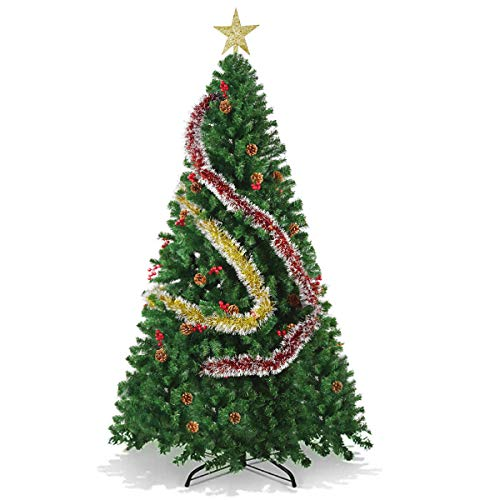 OVX Artificial Christmas Tree (6ft/1.8m, with Gold Star/Metallic Garland/Berries/Pinecones) Metal Stand Premium PVC Pine Tree Holiday Decoration-2 Sizes
