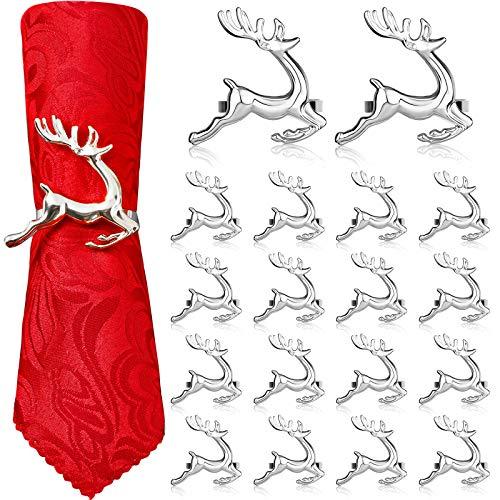 WILLBOND Hirsch Serviettenringe Weihnachten Serviettenringe Halter Rentier Servietten Schnalle für Feiertag Abendessen Partys, Hochzeit Schmuck, Tischdekoration Zubehör (Silber, 18 Stücke)