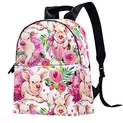 Mochila de piel para la escuela, universidad, viajes, oficina, portátil, para mujeres, hombres, acuarela, falda de cerdo, flor de cerdo
