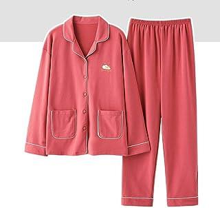 Pijama Mujer PrimaveraPijamas para Mujer Primavera Otoño Cálido Manga Larga Mujer Conjunto De Pijama De Bolsillo Amarillo Camada Oso Ropa De Dormir Tamaño Suelto Traje De Casa