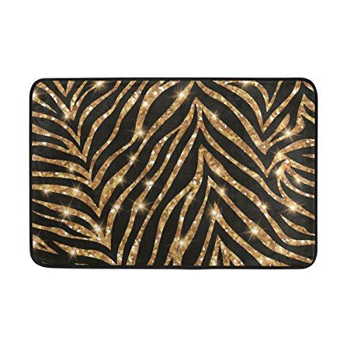 Ahomy Rechteckiger Teppich Badematte Gold Zebra Muster Polyester Bereich Teppiche rutschfeste Badewanne Duschmatten Weich saugfähig Schlafzimmer Wohnzimmer Fußmatte 58,4 x 38,1 cm