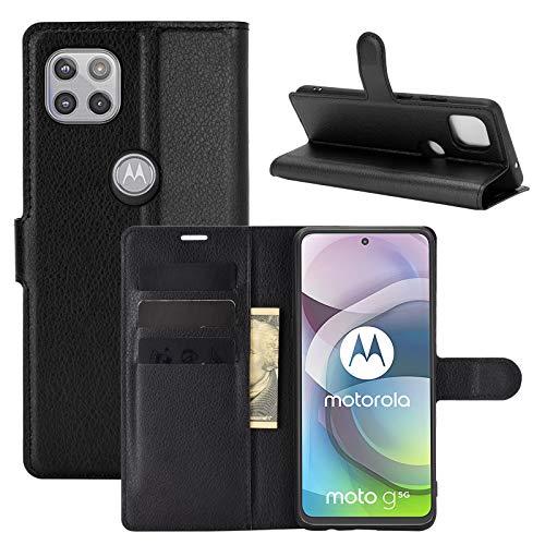 Fertuo Cover Motorola Moto G 5G, Custodia Portafoglio Cover a Libro in Pelle Flip Case con Silicone Bumper, Fibbia Magnetica, Porta Carte, Kickstand, per Motorola Moto G 5G, Nero