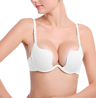Womens Sexy Deep U Multiway Underwire Padded Push Up Plunge Bra