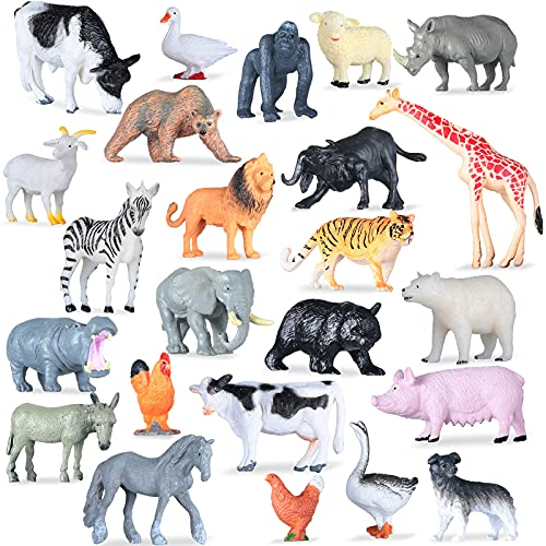 24 Pieces Animals Figures Toys Miniature Forest Animals Figures Woodland Creatures Figurines Toys Mini Plastic Zoo Animal Cake Topper Set for Birthday Present Party Favor Tabletop Decoration