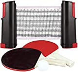 Quickdraw Instant Ping Pong Table Tennis Set with Extendable Net Bats & Balls