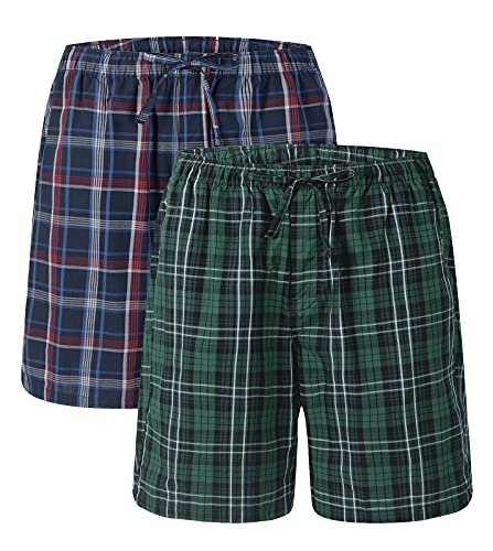 LAPASA Pacco da 2 Uomo Pantaloncini Pigiama 100% Cotone Vestibilità Comoda Pantaloni Corti Tuta Multicolore M M92