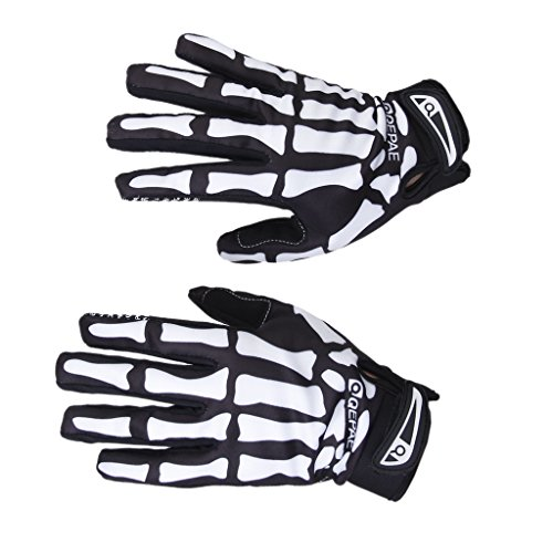 Guantes Ciclismo Invierno Guantes Deportivos con Dibujo Esqueleto de Color Negro y Blanco Tamaño XL