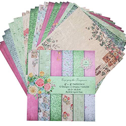 24 Blatt Scrapbooking Papier Gemustertes Karton Bastelpapier mit Vintage Design für DIY Handwerk Foto Hintergrund Deko Größe: 15,2 * 15,2 cm / 6,0 * 6,0 in