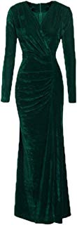 Ez-sofei Women's Vintage V Neck Side Slit Bodycon Long Maxi Evening Dress