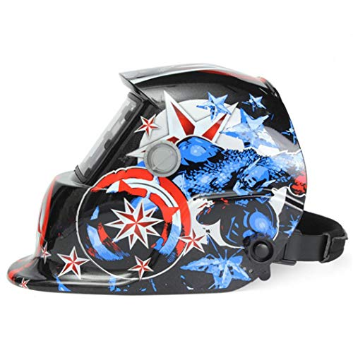 Welding Helmet Solar Powered Auto Darkening Hood with Adjustable Shade Range 4/9-13 for Mig Tig Arc Welder Mask Shield Flaming Skull Design. Buy it now for 29.99