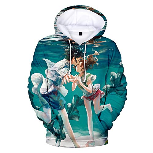 Dsti Unisex Hoodie Suéter Realista 3D Impresión Spirited Away Sudadera con Capucha Al Aire Libre Ropa Jumpers Top,M