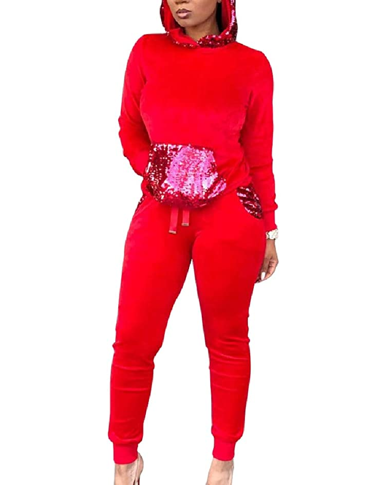 外部高潔なスライム女性2ピースのソリッドカラーファッションスパンコールのフックトラックスーツ