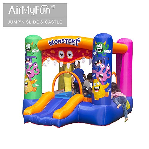 AirMyFun Inflatable Bounce House,Bouncy Castle with Air Blower,Bouncy House for Kids Party,Play House,Jumping Castle with Carry Bag(Monster Theme).