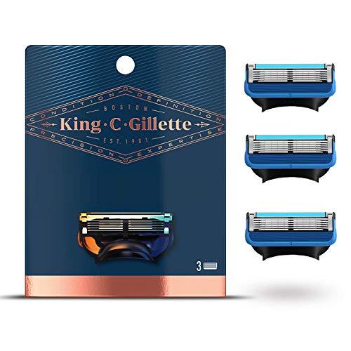 King C. Gillette Rasierklingen, 3 Ersatzklingen für Nassrasierer Herren mit 5-fach Klinge