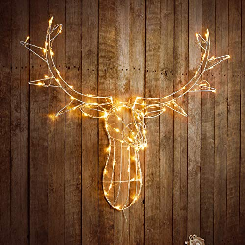 Sentik 85cm Light Up Reindeer Stag Head Metal Framed Deer Stags Head Christmas Xmas Wall Decoration Plug in with 80 LED's for Indoor Outdoor (Warm White)