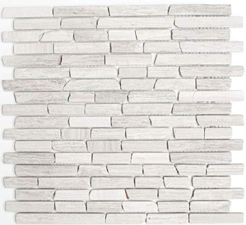 Mosaik Fliese Marmor Naturstein Brick Marmor grau Streifen MOS40-MOSBrick2012