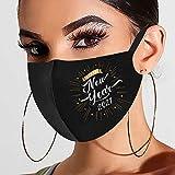 757 Mundschutz Waschbar Schwarz mit Weihnachten Neujahr 2021 Motiv Maske Bandana Multifunktionstuch Atmungsaktive Baumwolle Mund und Nasenschutz Schal Staubdicht Halstuch Herren Damen