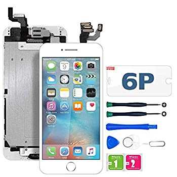 FFtopu Compatible with iPhone 6 Plus Screen Replacement White,LCD Display with 3D Touch Screen Digitizer Full Assembly+Home Botton+Front Camera+Earpiece+Free Screen Protector+Repair Tools Kit  5.5