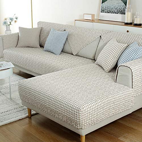 SAZDFY Algodón Lavable Funda De Sofá para L-sofá En Forma Reposabrazos Respaldo Cubierta De Couch para Los Niños Mascotas,Acolchado Seccional Cubierta De Couch-Marrón. 90x210cm(35x83inch)