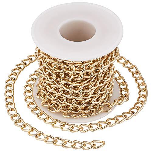 Cheriswely, catena in alluminio, non saldata, con rocchetto, 10 x 6,5 mm, per creare gioielli, rotolo da 5 m