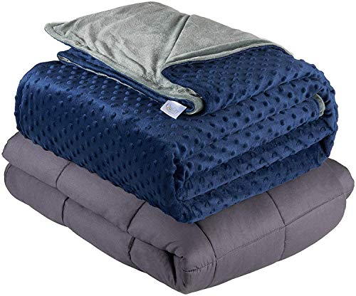 "Quility Weighted Blanket for Adults - Queen Size, 60""x80"", 25 lbs - Heavy Heating Blankets for Restlessness - Grey, Navy Cover"