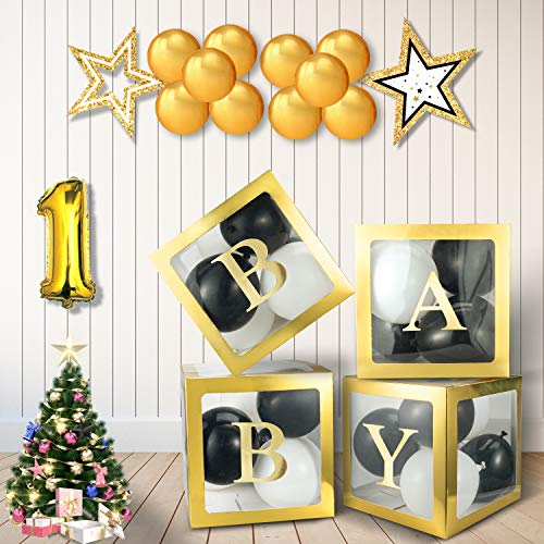Baby Shower Box for Boys or Girls,4pcs DIY Gold-Transparent Box with Letters for Gender Reveal Party Supplies, Birthday Party Decorations Box