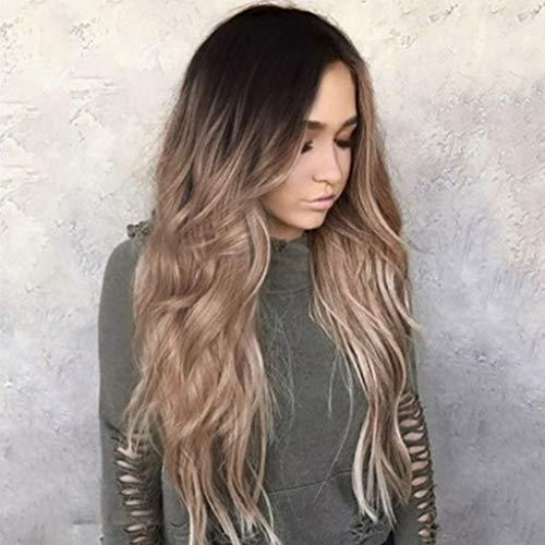 DONGLU Perruque Longue Perruque Synthétique Ondulée Synthétique Avant pour Femmes Cheveux Naturels (Couleur : A, Taille : M)