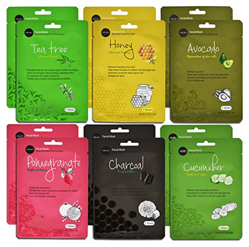 Celavi Essence Facial Face Mask Paper Sheet Korea Skin Care Moisturizing 12 Pack (Mix - 2 of Each)