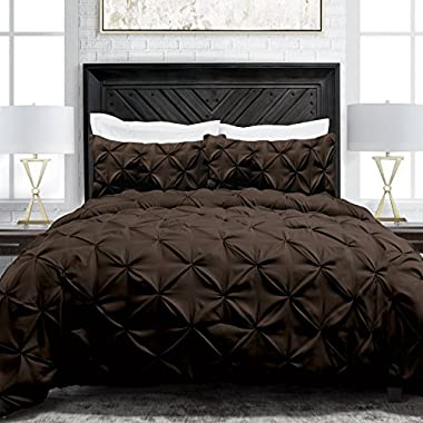 Sleep Restoration Pinch Pleat 3-Piece Luxury Goose Down Alternative Comforter Set - Premium Hypoallergenic All Season Pintuck Style Duvet Set - King/Cal King - Chocolate