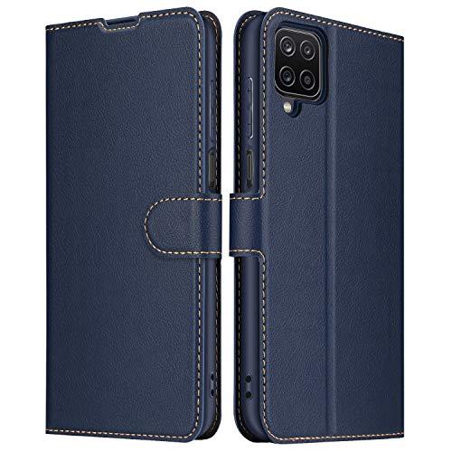ELESNOW Hülle für Samsung Galaxy A12, Premium Leder Klappbar Schutzhülle Tasche Handyhülle mit [ Magnetisch, Kartenfach, Standfunktion ] für Samsung Galaxy A12 (Blau)