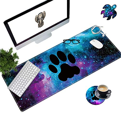 Extended Mouse Pad Large Gaming Mouse Pad- 31.5x11.8 inch Computer Keyboard Mouse Mat Non-Slip Mousepad Stitched Edges +Cup Coaster and Cute Stickers for Game Players/Office/Study, Galaxy Dog Print