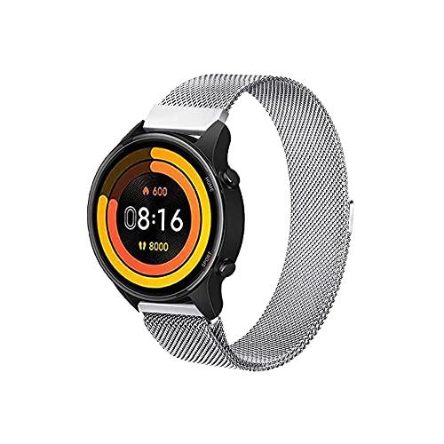 PaceBid Correa Compatible con Xiaomi Mi Watch, Correa de Acero Inoxidable, Correa de Malla Ajustable, Magnético Pulsera para Mujeres y Hombres para Xiaomi Mi Watch-Silver