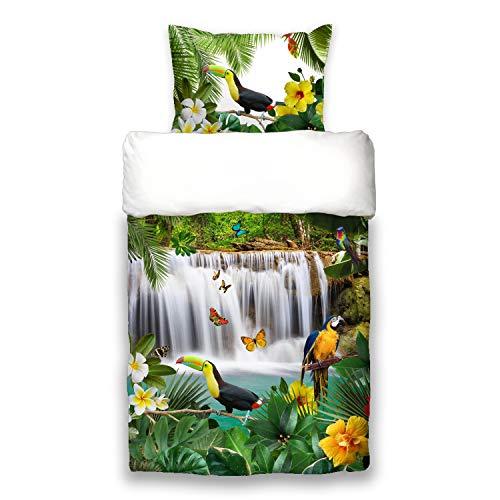 Schwanberg Bettwäsche Jungle Bunt Weiß Dschungel Wasserfall Oase Tropen Renforcé, Größe:135 cm x 200 cm