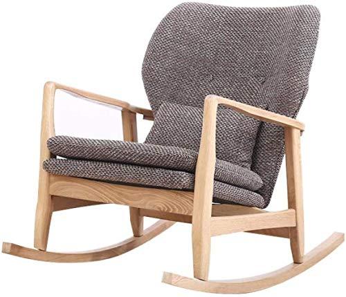 JYHJ Silla mecedora de madera nórdica, sillón reclinable para adultos, simple y moderno, silla de sofá, silla Siesta, marrón, color: marrón (color: marrón)