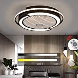 Modern LED Ceiling Fan with Lights Remote Control Dimmable Hidden Blade Low Profile