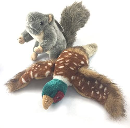 Sancho Lola s Plush Gray Squirrel and Pheasant Dog Toys for Interactive Play and Training Supporting product image