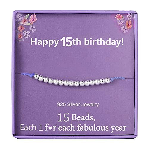 Birthday Gifts for 15th Girls Bracelet for Girl Silver Beads bracelet for...