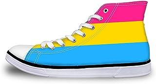 Canvas High Top Sneaker Casual Skate Shoe Mens Womens Pansexual Pride Flag